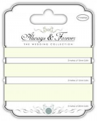 Satin Ribbon - Always & Forever - The Wedding Collection - Ivory 3m of each size - 10mm,15mm & 20mm